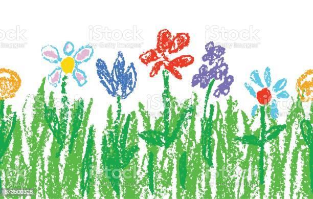 Wachs Kreide Kinder Handgezeichnet Bunte Blumen Mit Grünem Gras Auf Weiß Nahtlose Kinder Gezeichnet Blumen Gesetzt Niedlich Von Kindermalerei Frühling Und Sommerwiese Stock Vektor Art und mehr Bilder von Baumblüte