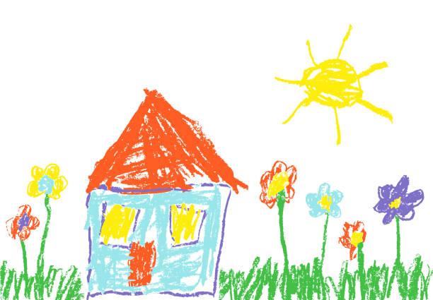 mum mum boya çocuğun el çekilmiş ev, çim, renkli çiçekler ve güneş gibi. - kids drawing stock illustrations