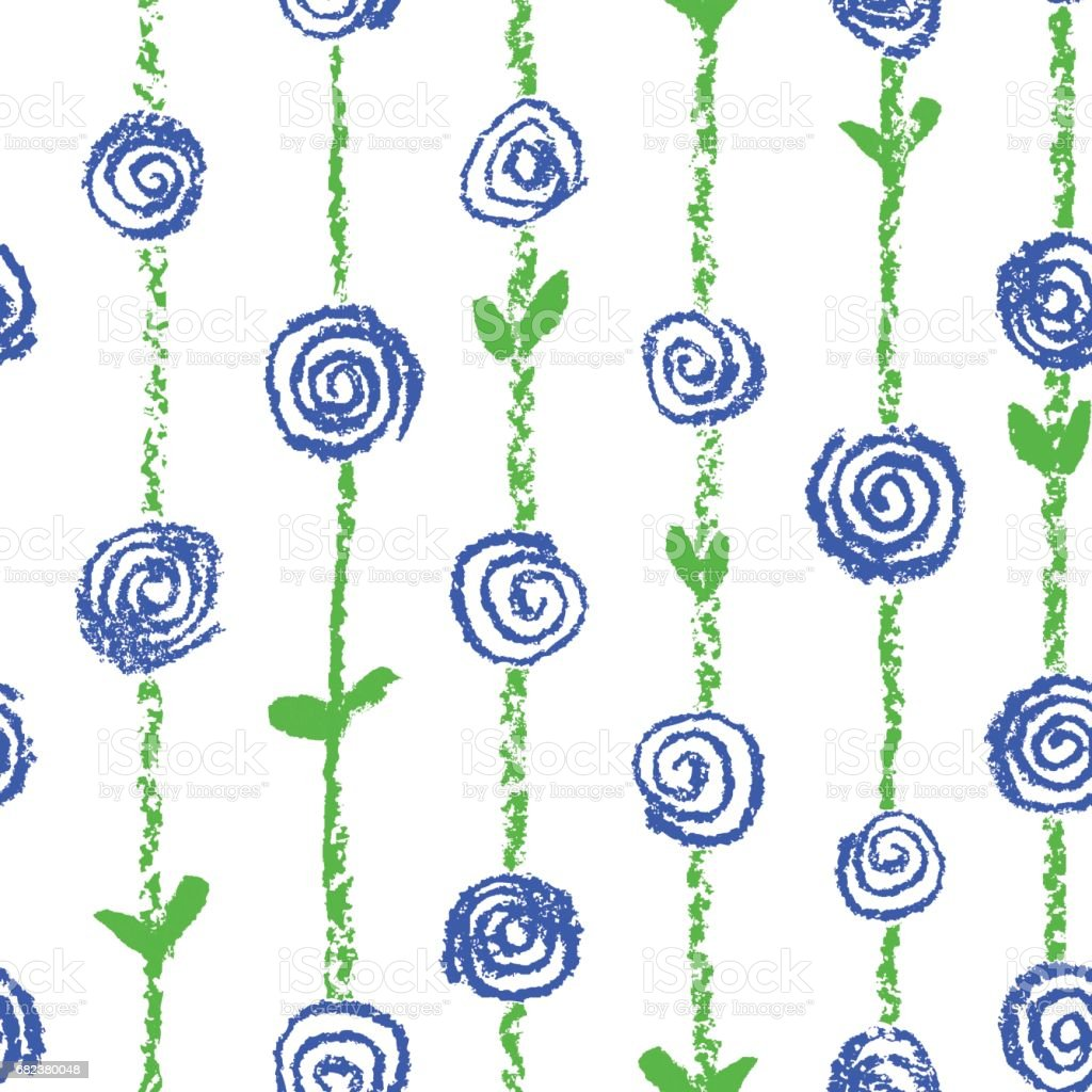 Wax crayon like kid`s drawn blue color seamless pattern with roses flowers and stroke stripes. royalty-free wax crayon like kids drawn blue color seamless pattern with roses flowers and stroke stripes stock vector art & more images of arts culture and entertainment