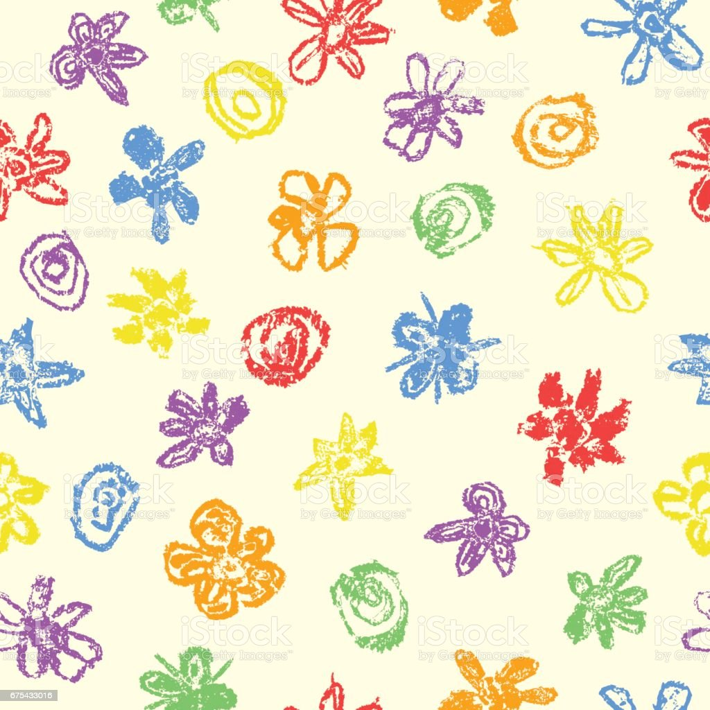 Wax Crayon Like Kids Drawn Colorful Seamless Pattern With Flowers On