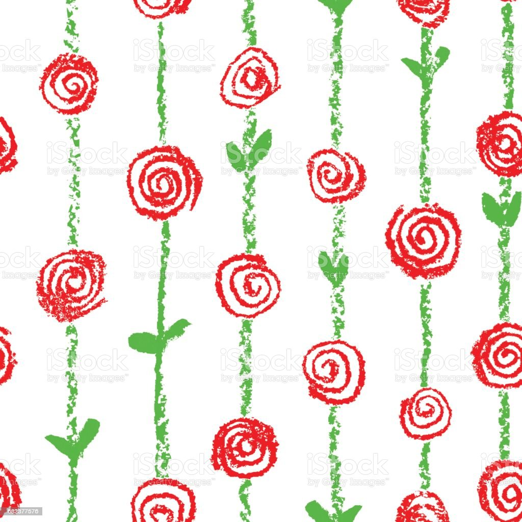 Wax crayon like kid`s drawn red color seamless pattern with roses flowers and stroke stripes. wax crayon like kids drawn red color seamless pattern with roses flowers and stroke stripes - immagini vettoriali stock e altre immagini di arredamento royalty-free