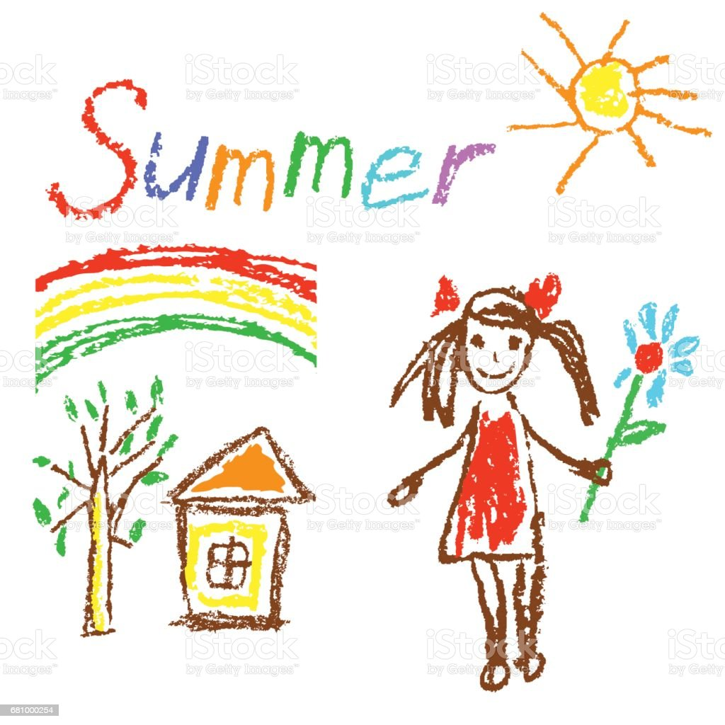 wax crayon like kids drawn summer background with house tree