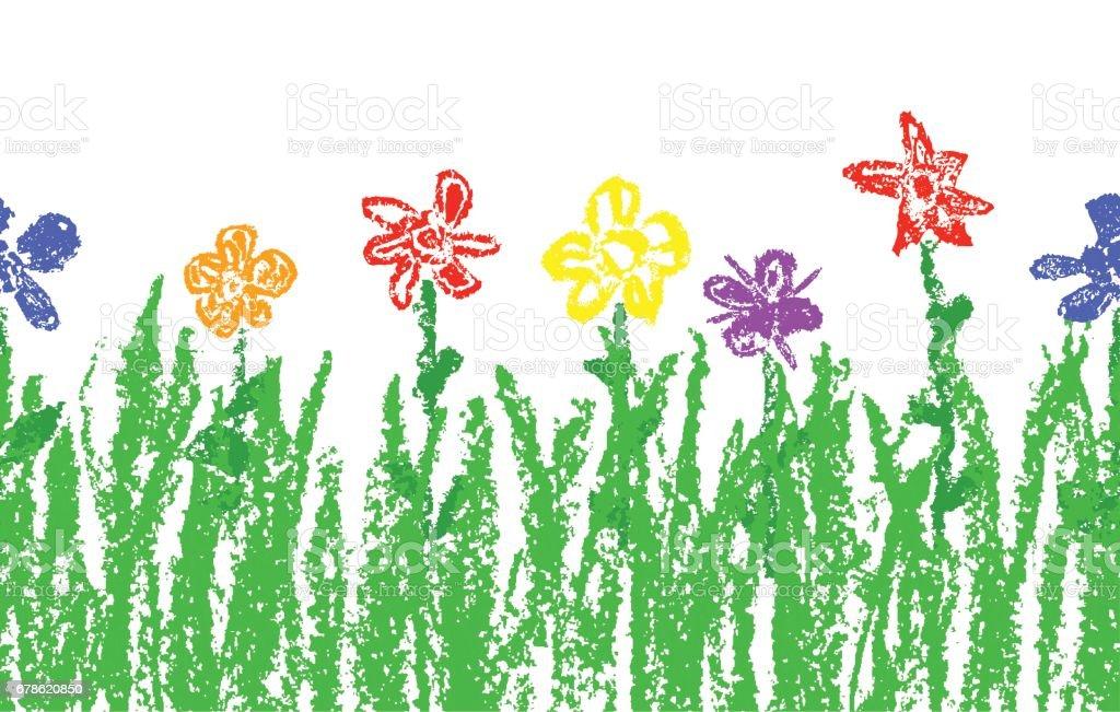 Wax Crayon Like Kids Hand Drawn Colorful Flowers With ...