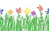 Wax crayon like kid`s hand drawn colorful flowers with green grass. Seamless like child`s drawn flowers set.