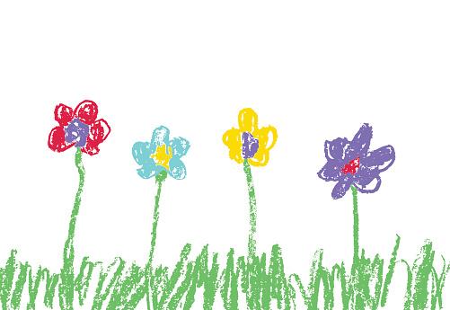 像孩子們的手繪七彩花朵長滿綠草的蠟筆向量圖形及更多俄羅斯圖片