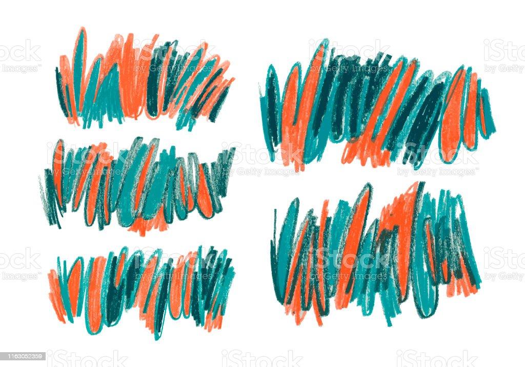 Wax pencil scribble vector illustrations set. Messy childish...