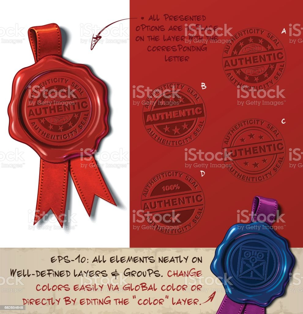 Wax Seal - Authenticity Stamp vector art illustration