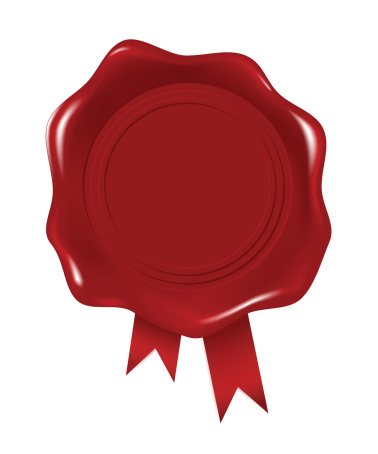 Wax seal in red with ribbon at the bottom