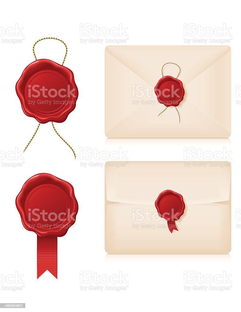 Wax Seals and Envelopes vector art illustration