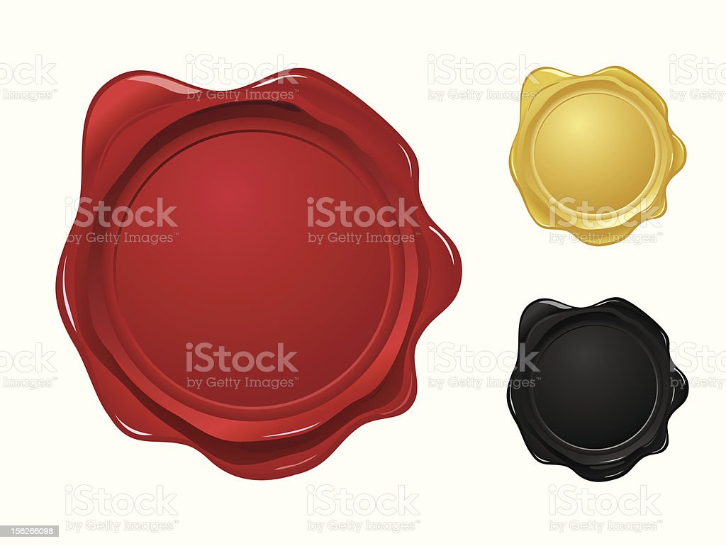 Wax seals (gradients only, no mesh used) vector art illustration