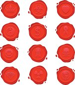 Collection of red wax seals featuring different symbols and icons.