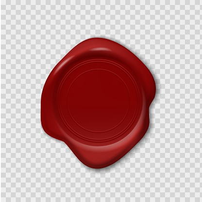 Wax stamp. Retro realistic red seal. 3D imprint on transparent background. Waxy emboss for old-fashioned postal envelopes and guarantee documents. Vector decorative sign with copy space