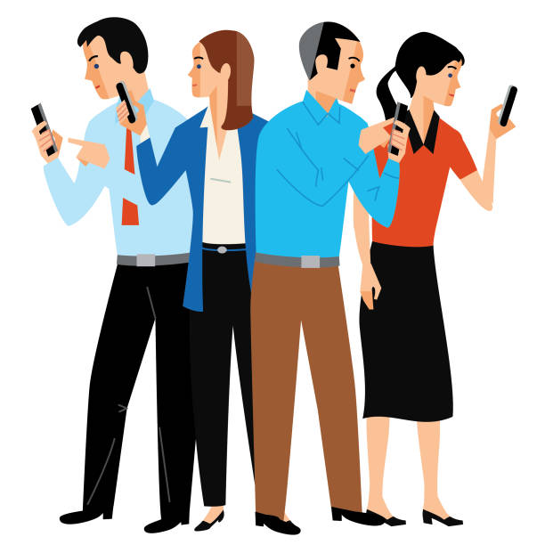 4 way conference call - russelltatedotcom stock illustrations