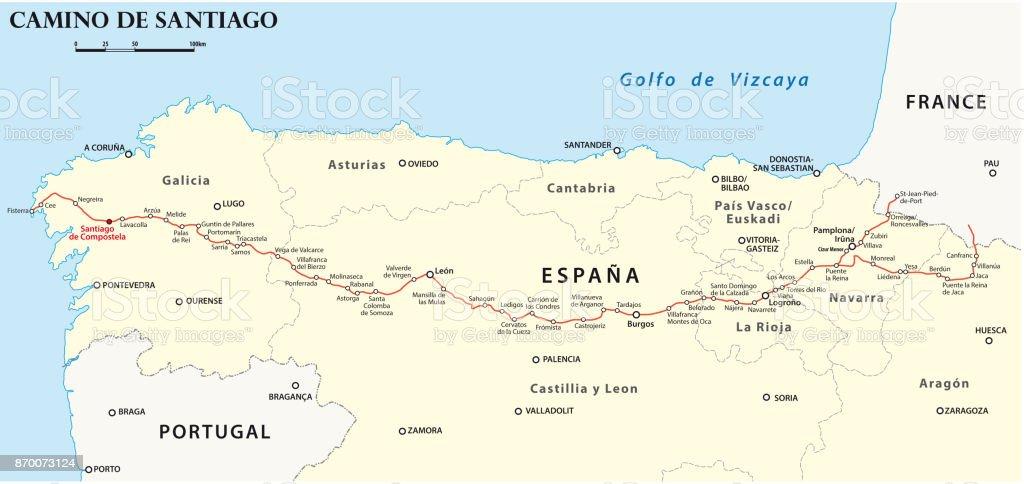 Jakobsweg Frankreich Spanien Karte.Jakobsweg Karte Stock Vektor Art Und Mehr Bilder Von Europa