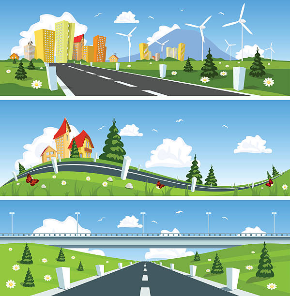 way through nature banner. vector - landstraße stock-grafiken, -clipart, -cartoons und -symbole