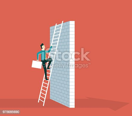 Business Challenge Concept. Businessman Climb Ladder on High Wall - Illustration