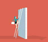 Business Challenge Concept. Businesswoman Climb Ladder on High Wall - Illustration