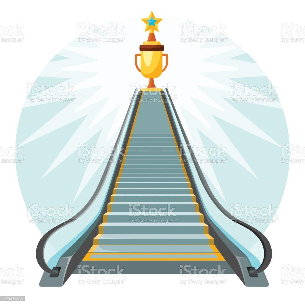 Ilustración de Forma De Afiche Conceptual éxito Con Escalera ...