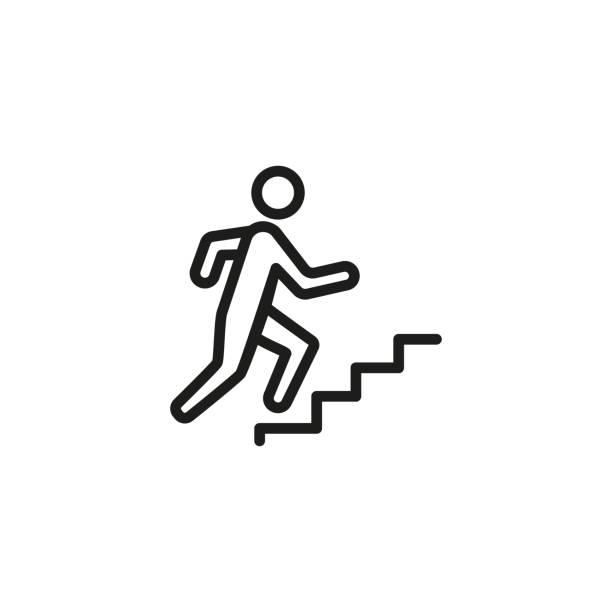 weg zur erfolgslinie ikone - treppe stock-grafiken, -clipart, -cartoons und -symbole