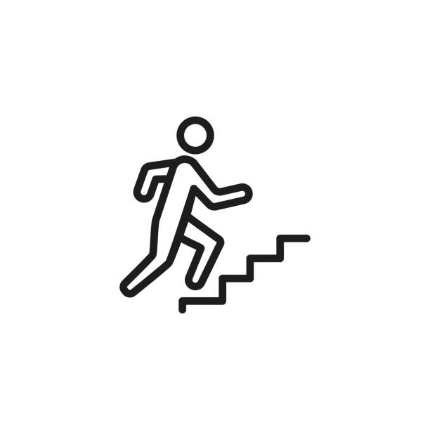 way to success line icon - schody stock illustrations
