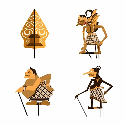 Wayang aka Leather Puppet. indonesian traditional puppet symbol collection set concept in flat cartoon illustration vector