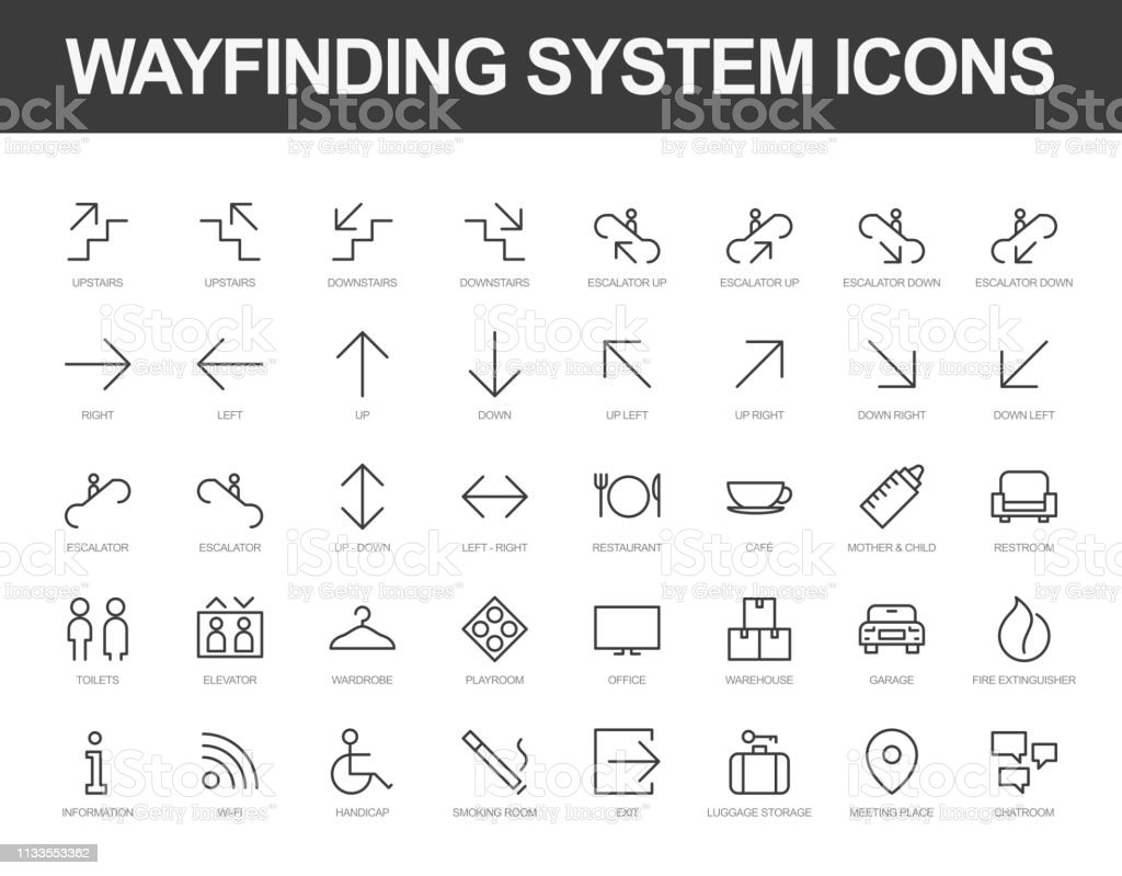 Wayfinding system iconset vector art illustration
