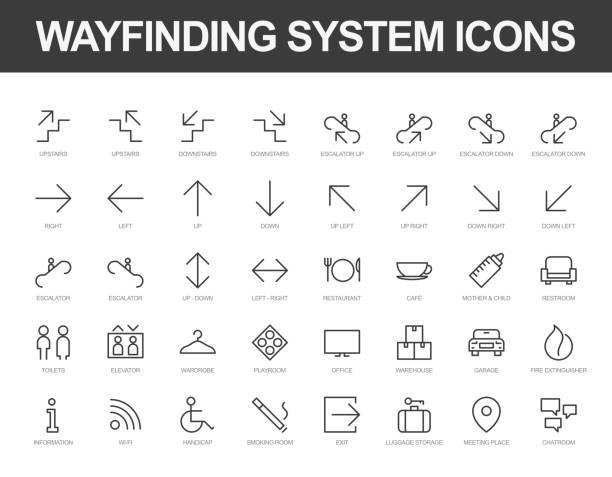 Wayfinding system iconset Set of vector line icons ready to use in a wayfinding system. bathroom icons stock illustrations