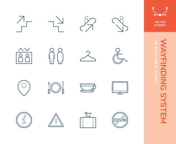 wayfinding system iconset - wayfinding icons stock illustrations, clip art, cartoons, & icons