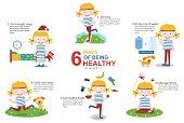 Educational 6 ways of having healthy life cartoon infographics, illustration, vector
