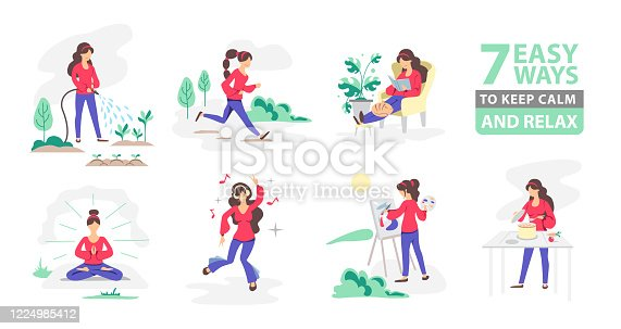 7 ways to keep calm and relax. Set of people gardening, cooking, dancing, reading, painting, meditating, running.  Daily activity or hobbie. Flat style vector illustration