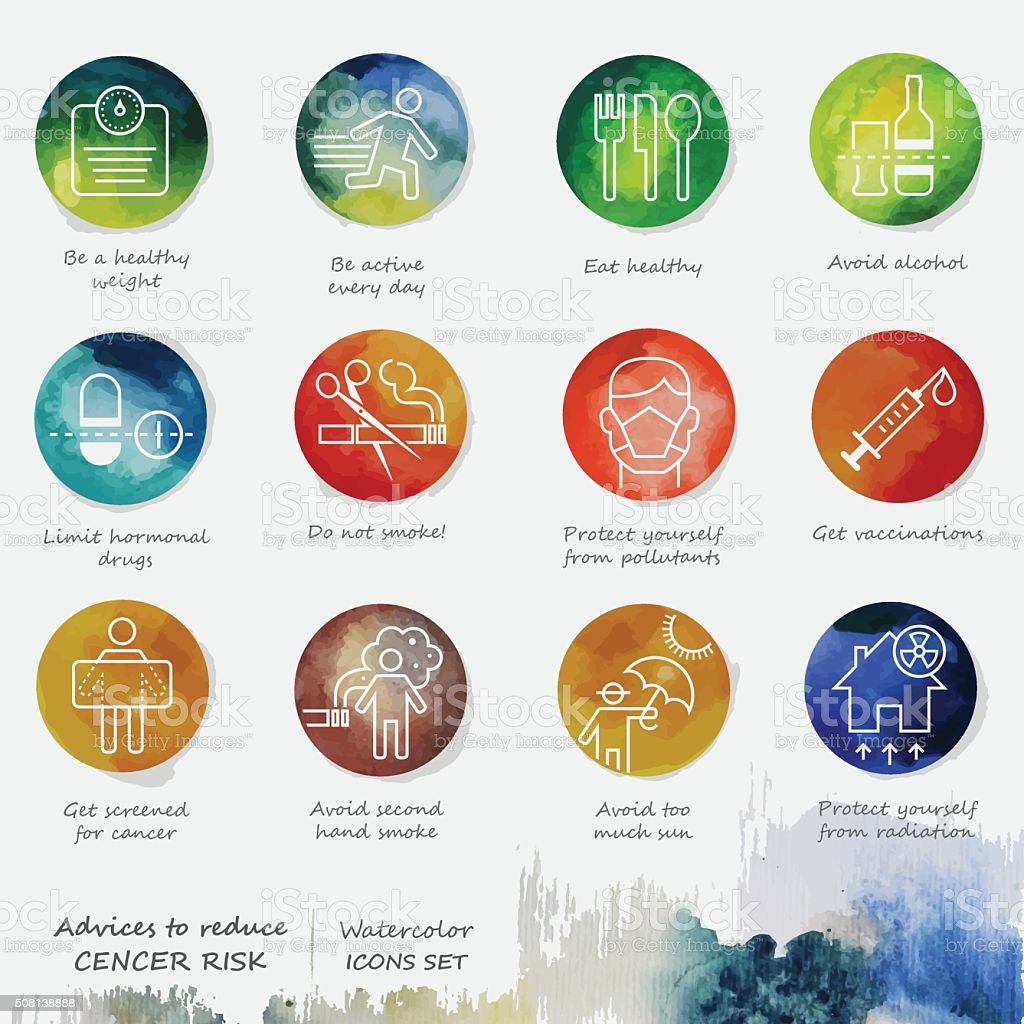 Ways To Reduce Cancer Watercolor Icons Set vector art illustration
