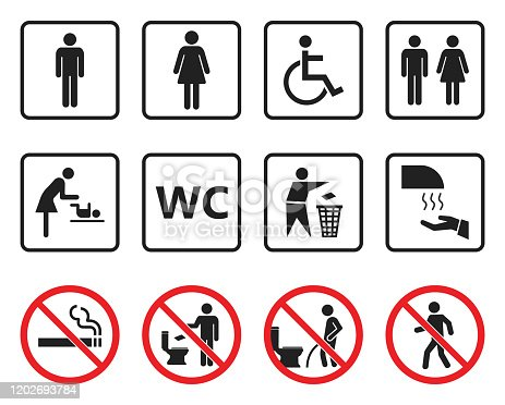 toilet icons set, restroom wc signs and prohibited symbols