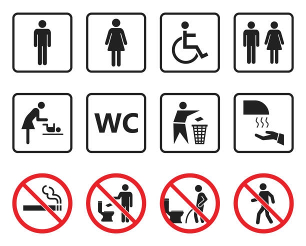 wc toilet sign set, restroom icons and prohibited symbols toilet icons set, restroom wc signs and prohibited symbols airport clipart stock illustrations