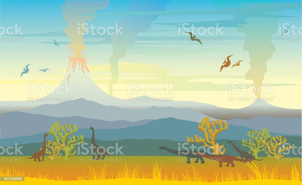wdscape with volcanos and dinos. vector art illustration