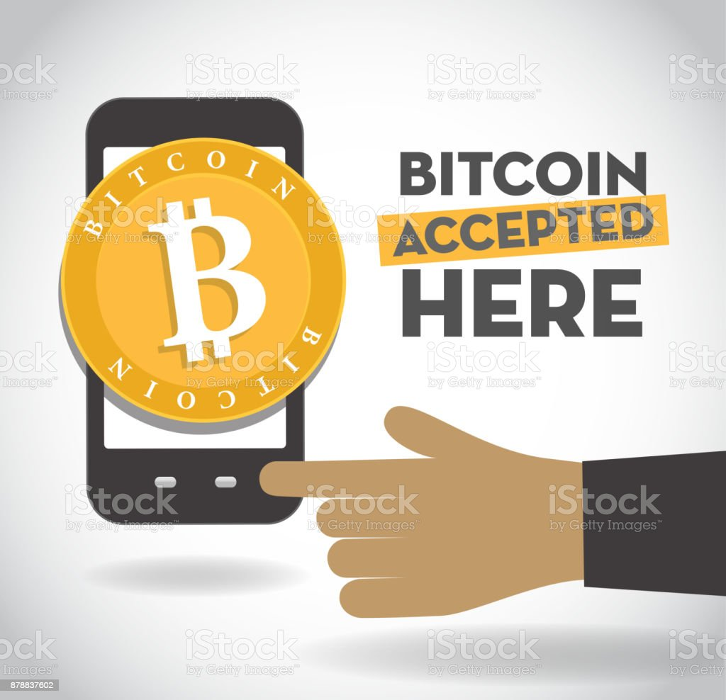 We accept Bitcoin sign with smartphone and human hand vector art illustration