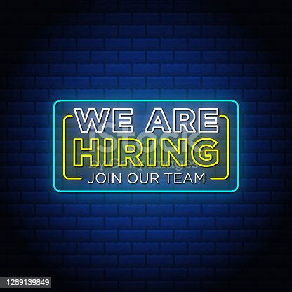 istock We ara hiring join our team neon signs style text design in blue background. 1289139849