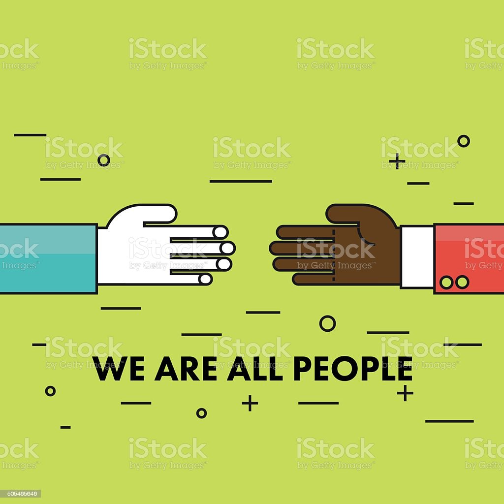 We are all human. Flat thin line Motivational poster. vector art illustration