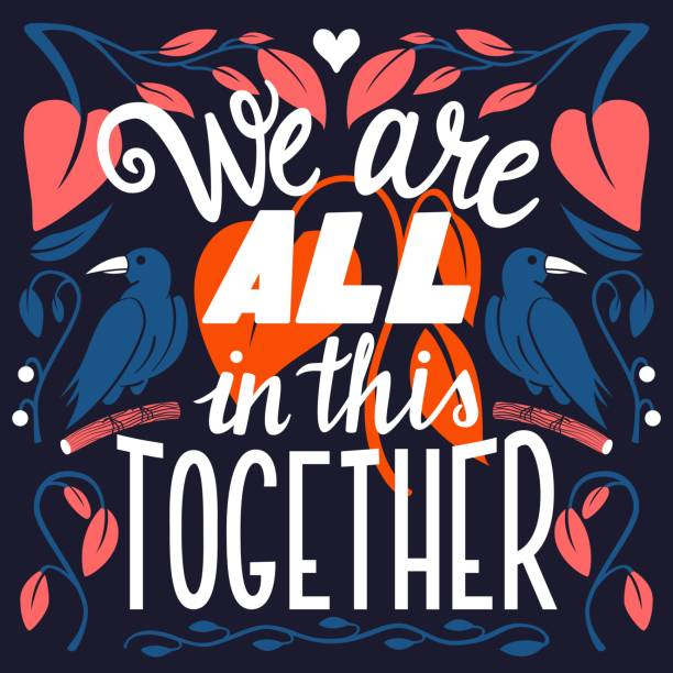 We are all in this together, hand lettering typography modern poster design, vector illustration vector art illustration