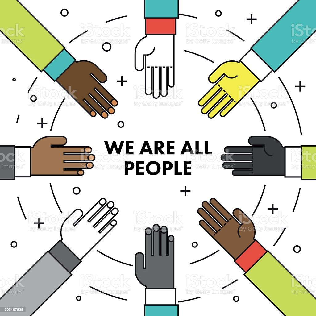 We are all people. Flat thin line motivational poster. vector art illustration
