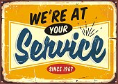 istock We are at your service retro store sign design template. 1175309140