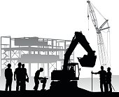 vector silhouette illustration of construction workers at a job site with a bull dozer and a jackhammer.