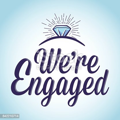 we are engaged typography art stock vector art more images of