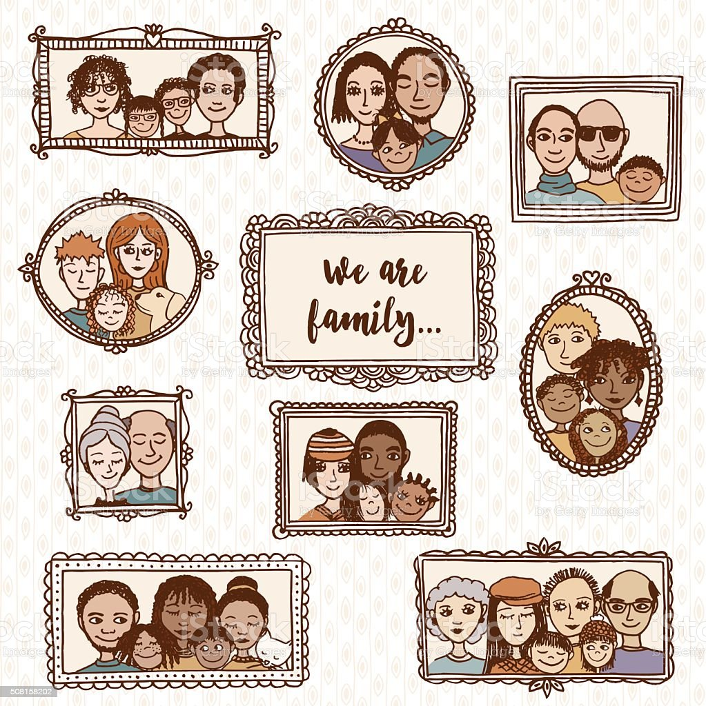 We are family! hand drawn family portraits vector art illustration