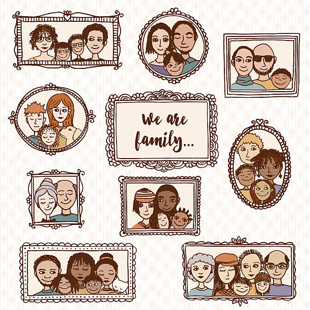 wir sind die familie! handgezeichnet familie porträts - palettenbilderrahmen stock-grafiken, -clipart, -cartoons und -symbole