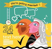 We are getting married - an engagement announcement or invitation with a man and a woman with romantic hearts of love and a date and time with copyspace for text.