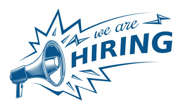 we are hiring  advertising sign with megaphone - zatrudnienie stock illustrations