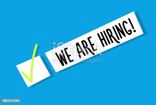 641422198istockphoto We are hiring background message. Employment recruitment. Job opportunity. Vector illustration 960320584