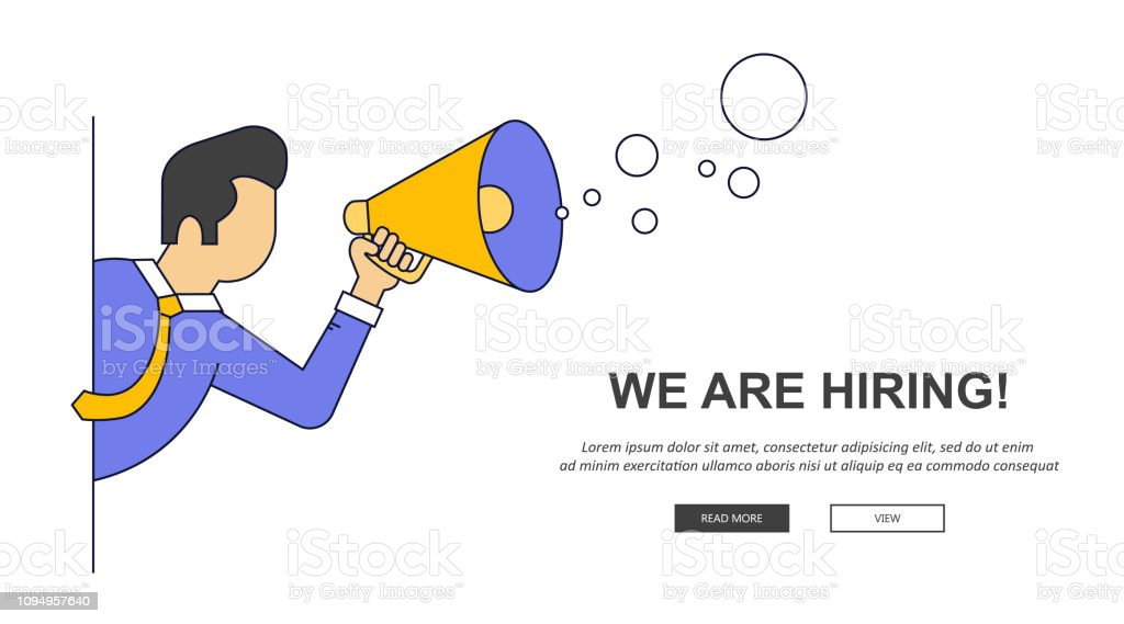 We Are Hiring Banner Find The Right Person For The Job Concept Hiring And Recruiting New Employees Flat Vector Design Stock Illustration Download Image Now Istock