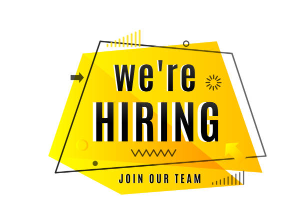 We are hiring concept. Job vacancy advertisement geometric banner We are hiring concept. Join our team text. Job vacancy advertisement geometric banner design isolated on white background. Vector illustration help wanted sign stock illustrations