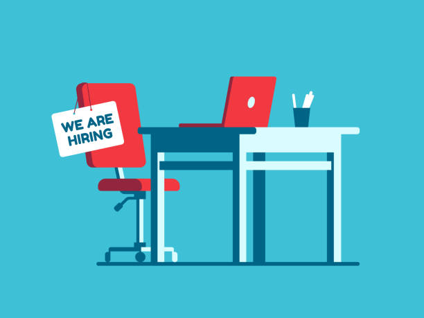 We are hiring employment sign on vacant workplace. New company executives vacancy. Empty office armchair for executive vector concept We are hiring employment sign on vacant workplace. New company executives vacancy. Empty office armchair for executive. Recruitment and people management vector concept vacancy stock illustrations